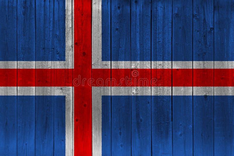 Iceland flag painted on old wood plank. Patriotic background. National flag of Iceland stock illustration