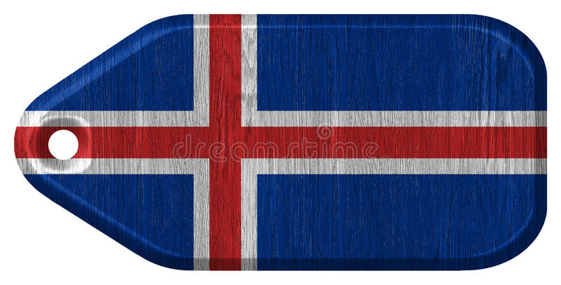 Iceland flag. Painted on wooden tag vector illustration