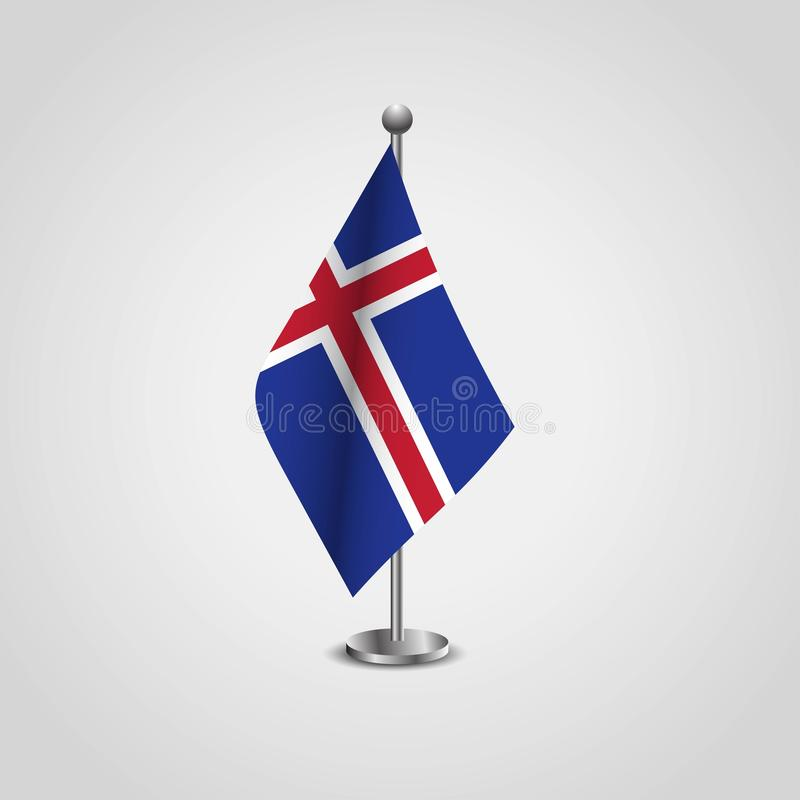 Iceland Flag Pole. Vector EPS10 Abstract Template background royalty free illustration