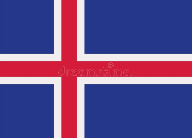 Iceland flag vector. Iceland flag country Europe vector stock illustration