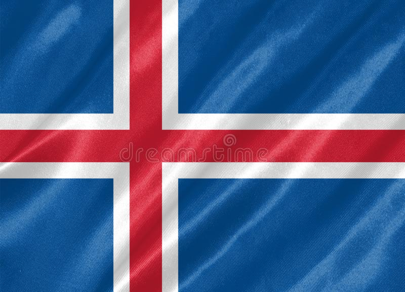Iceland Flag. With waving on satin texture royalty free illustration