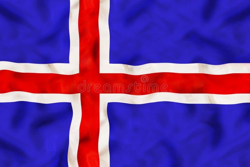 Iceland flaga państowowa z falowanie tkaniną obraz royalty free