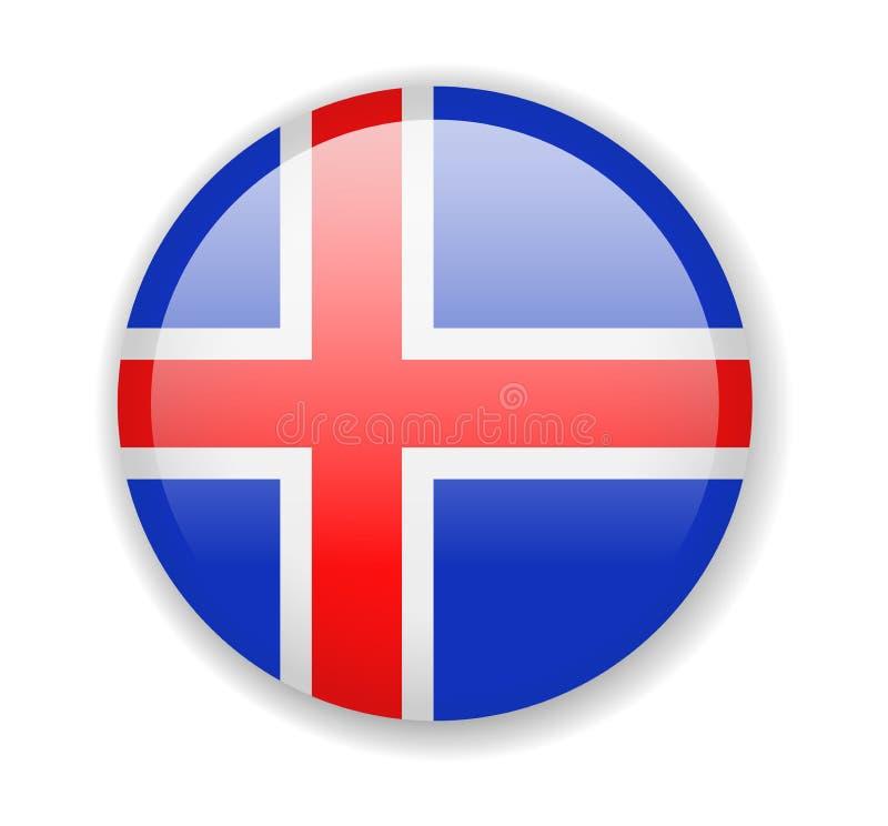 Iceland flaga Round jaskrawa ikona na białym tle ilustracja wektor
