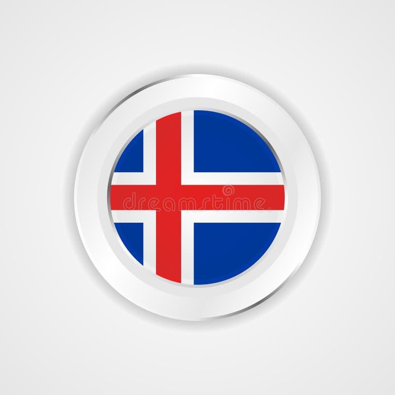 Iceland flaga w glansowanej ikonie ilustracja wektor