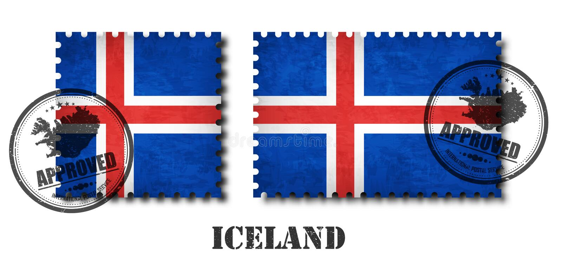 Iceland flaga wzoru znaczek pocztowy z grunge narysu starą teksturą i afiksem foka na odosobnionym tle Czarny koloru kraj n royalty ilustracja
