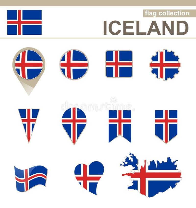 Iceland flagi kolekcja ilustracja wektor