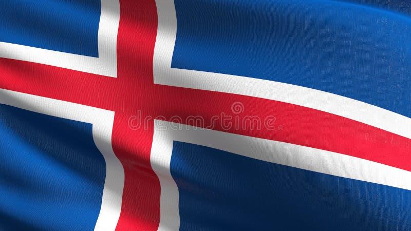 Iceland flagi państowowej dmuchanie w wiatrze odizolowywającym Oficjalny patriotyczny abstrakcjonistyczny projekt 3D renderingu i ilustracja wektor