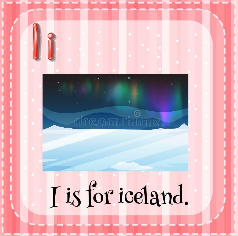 Iceland. Flashcard letter I is for iceland vector illustration