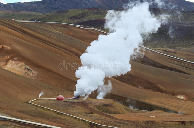 Iceland geothermal zone Namafjall - area in field of Hverir. Landscape which pools of boiling mud and hot springs. Tourist and. Iceland geothermal. Namafjall stock photos