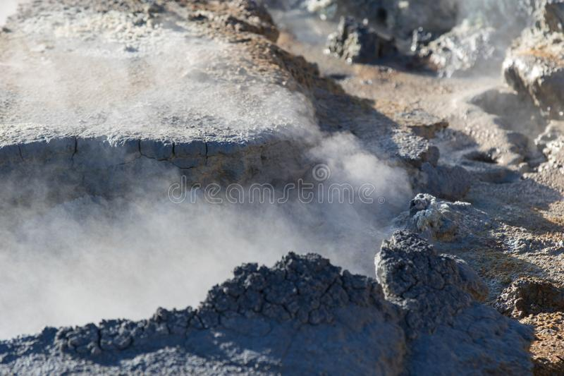 Iceland geothermal zone Namafjall - area in field of Hverir. Landscape which pools of boiling mud and hot springs. Tourist and stock photography