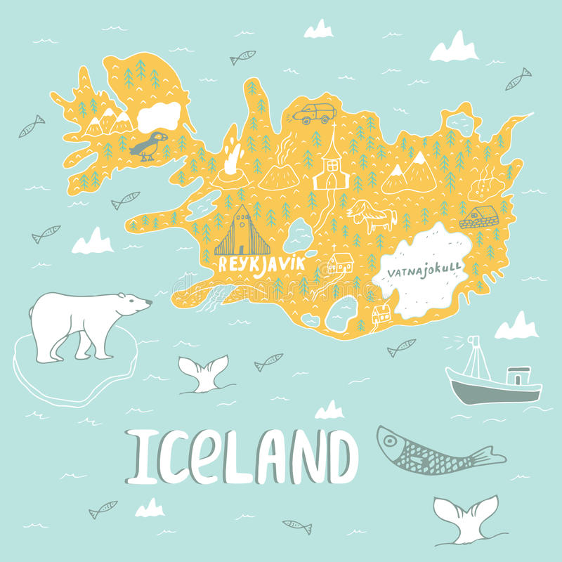 Iceland hand drawn cartoon map. Vector illustration with travel landmarks, animals and natural phenomena. royalty free illustration