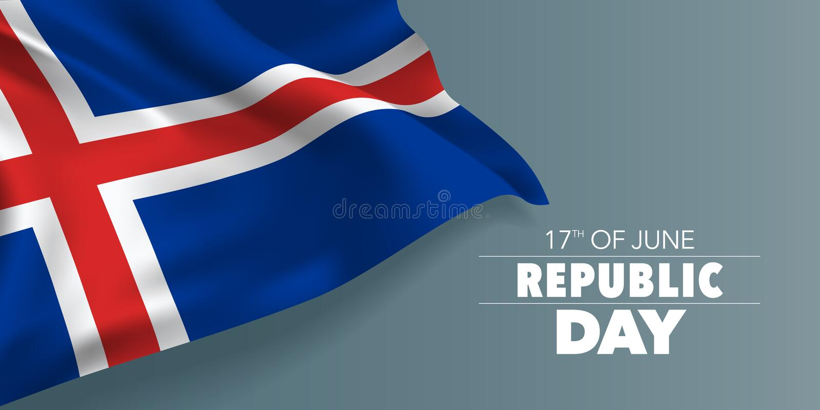 Iceland happy republic day greeting card, banner with template text vector illustration. Icelandic memorial holiday 17th of June design element with yellow stock illustration