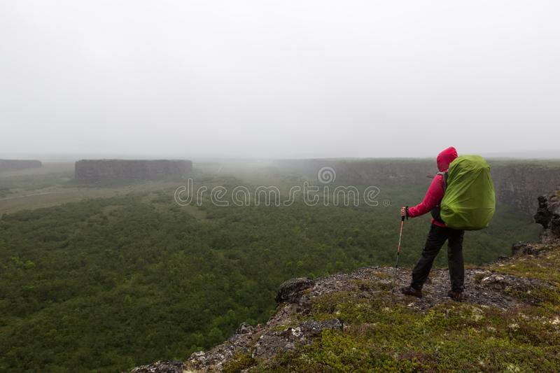 Iceland hiking, wild adventure concept. royalty free stock image