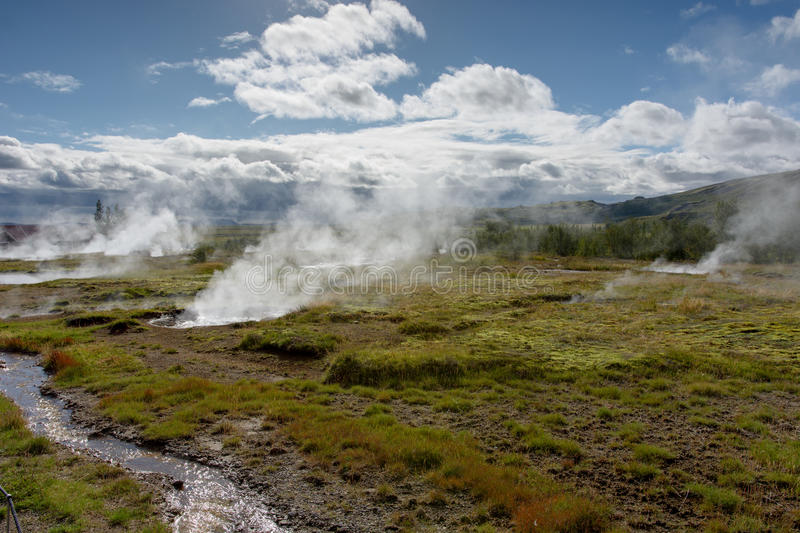 Iceland hot springs. Hot springs in Iceland, in Geysir area stock photo