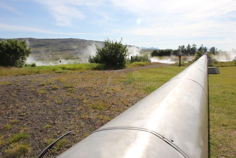 Iceland, hotspring w Deildartunguhver, waterpipe zdjęcie royalty free