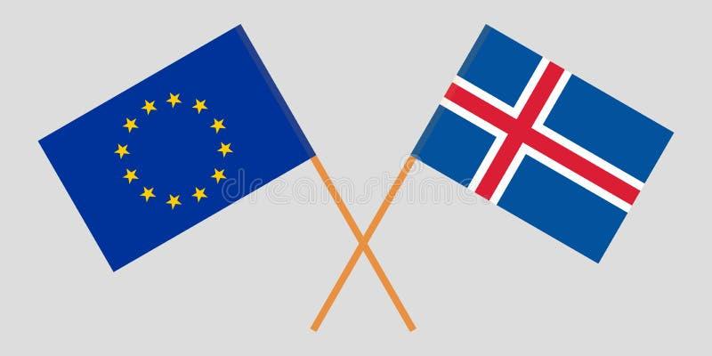 Iceland i UE Islandzkie i europejczyk flagi Oficjalni kolory Poprawna proporcja wektor ilustracji