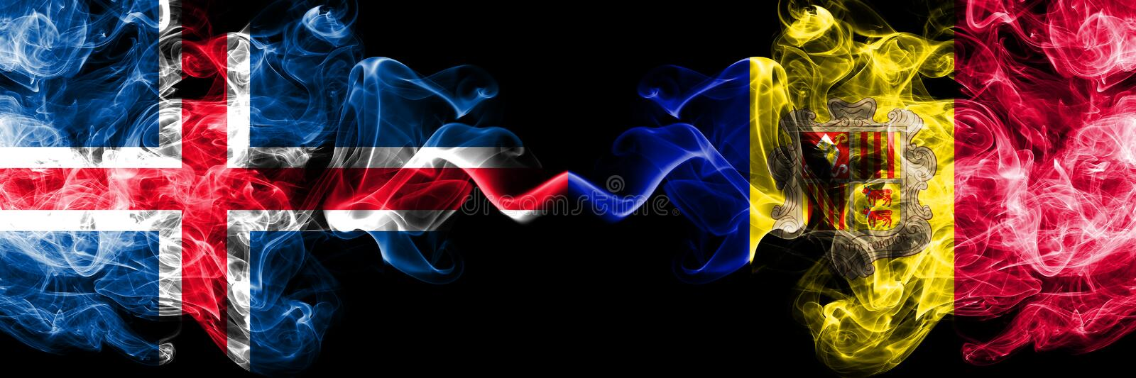 Iceland, Icelandic, Andorra, Andorran competition thick colorful smoky flags. European football qualifications games. Iceland Icelandic, Andorra, Andorran stock illustration