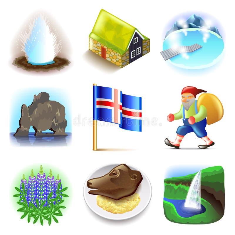 Iceland ikon wektoru set royalty ilustracja