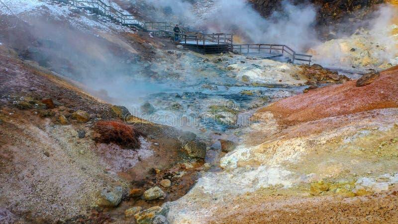 Iceland Krysuvik Seltun Geotermiczny teren ładny patrzeje zdjęcie stock