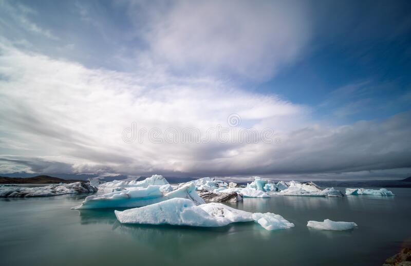 Iceland Lake with Melting Glaciers royalty free stock photo