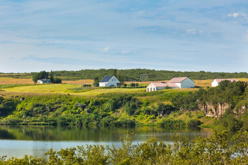 Download Iceland Landscape With Lake And Farmhouse At Sunny Good Weather Stock Photo - Image: 30217546