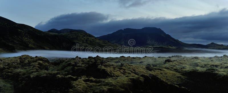 Iceland landscape at night. Iceland foggy landscape at nighttime stock images