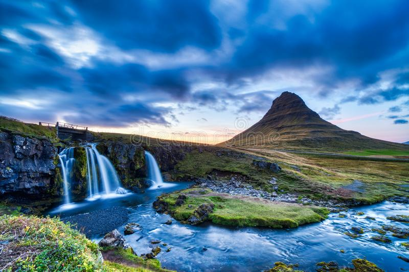 Iceland Landscape Summer Panorama, Kirkjufell Mountain at Dusk with Waterfall in Beautiful Light. Iceland stock photography
