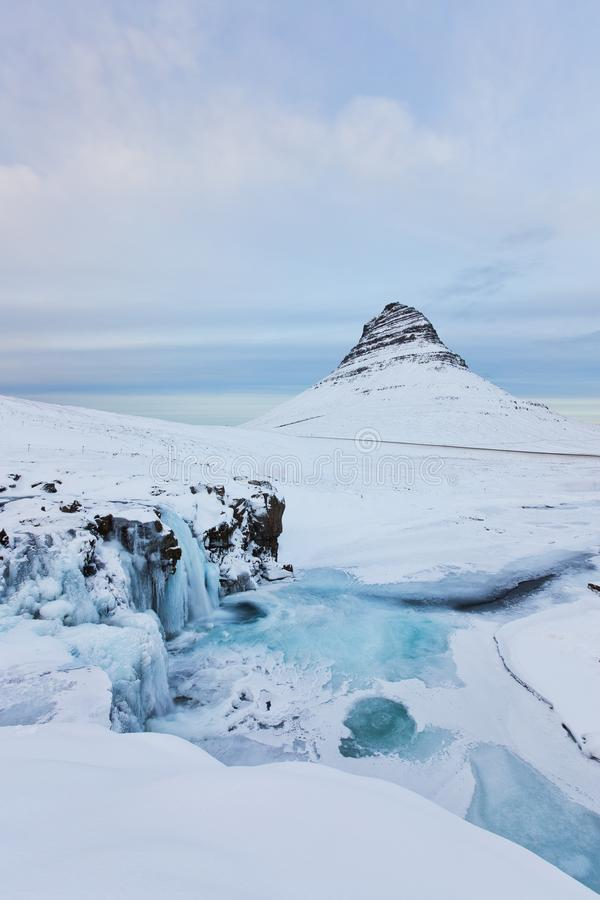 Free Iceland Landscape Winter Panorama, Kirkjufell Mountain Covered By Snow With Waterfall Stock Photos - 158195303