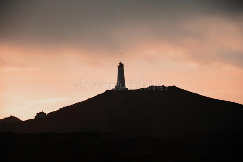 Iceland Lighthouse at dusk stock photos