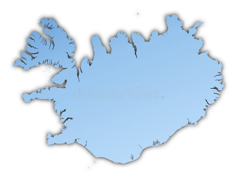 Iceland map. Iceland light blue map with shadow. High resolution. Mercator projection royalty free illustration