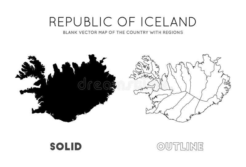 Iceland map. Blank vector map of the Country with regions. Borders of Iceland for your infographic. Vector illustration vector illustration