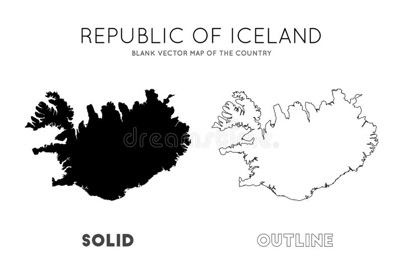 Iceland map. Blank vector map of the Country. Borders of Iceland for your infographic. Vector illustration vector illustration