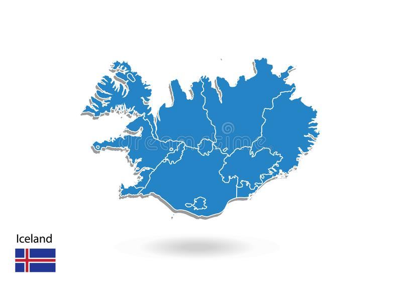 Iceland map design with 3D style. Blue iceland map and National flag. Simple vector map with contour, shape, outline, on white stock illustration