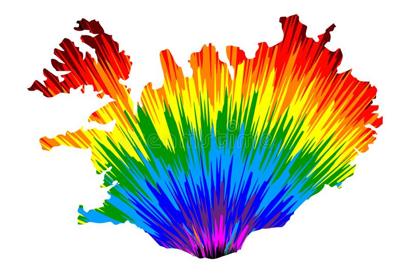 Iceland - map is designed rainbow abstract colorful pattern stock illustration