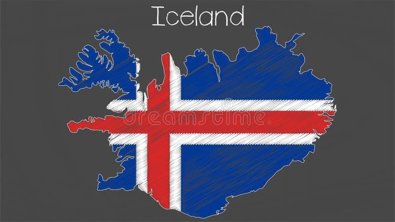 Iceland map-flag illustration vector illustration