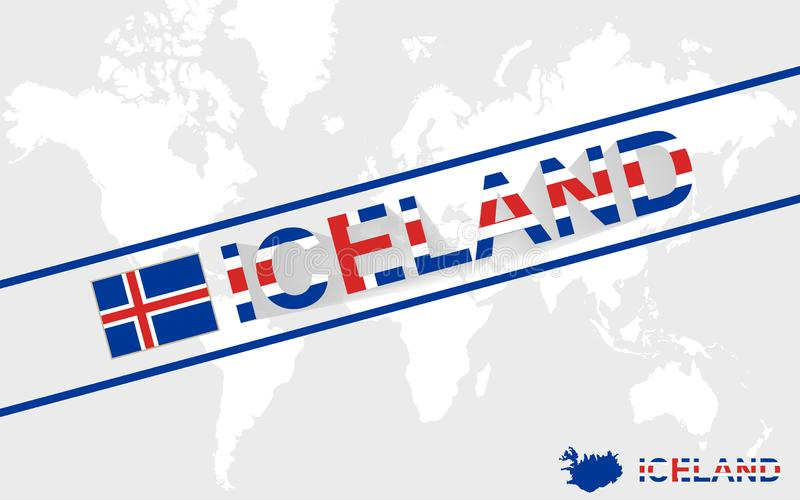 Iceland map flag and text illustration stock illustration