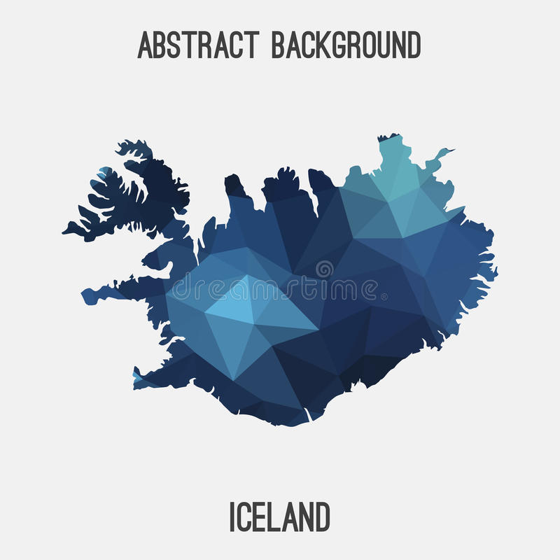 Iceland map in geometric polygonal,mosaic style. vector illustration