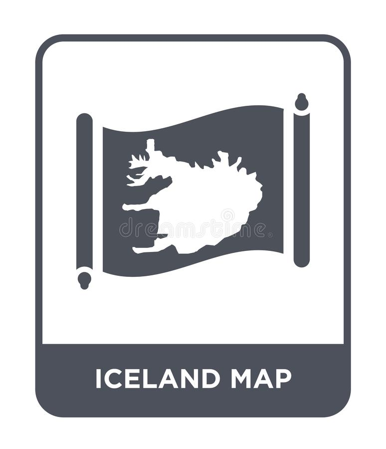 Iceland map icon in trendy design style. iceland map icon isolated on white background. iceland map vector icon simple and modern. Flat symbol for web site stock illustration