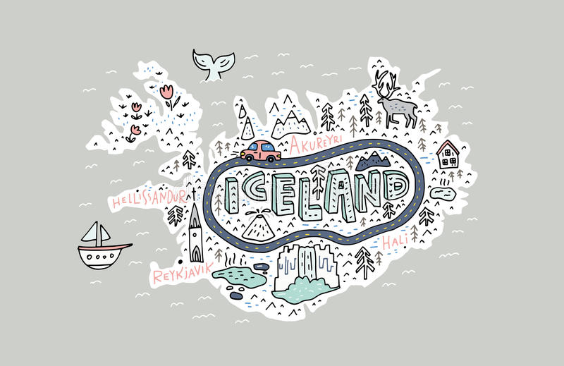Iceland Map Illustration royalty free illustration