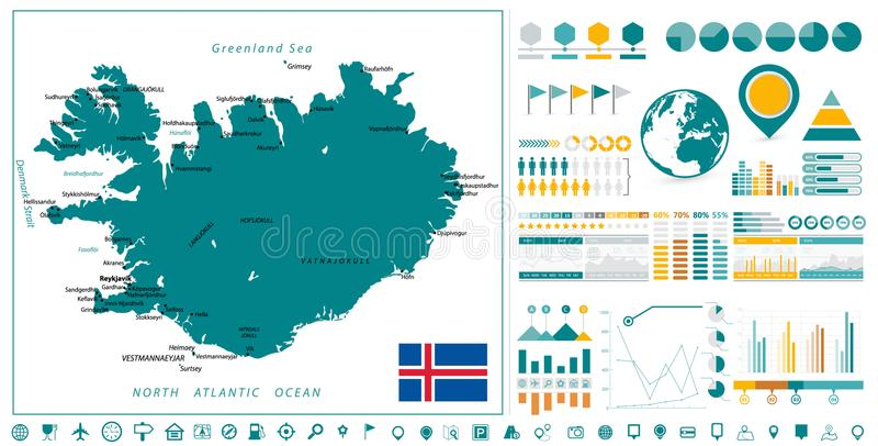 Iceland Map and Infographics design elements. On white. Business template in flat style for presentation, booklet, website and other creative projects royalty free illustration