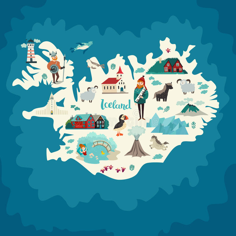 Iceland map landmarks royalty free illustration