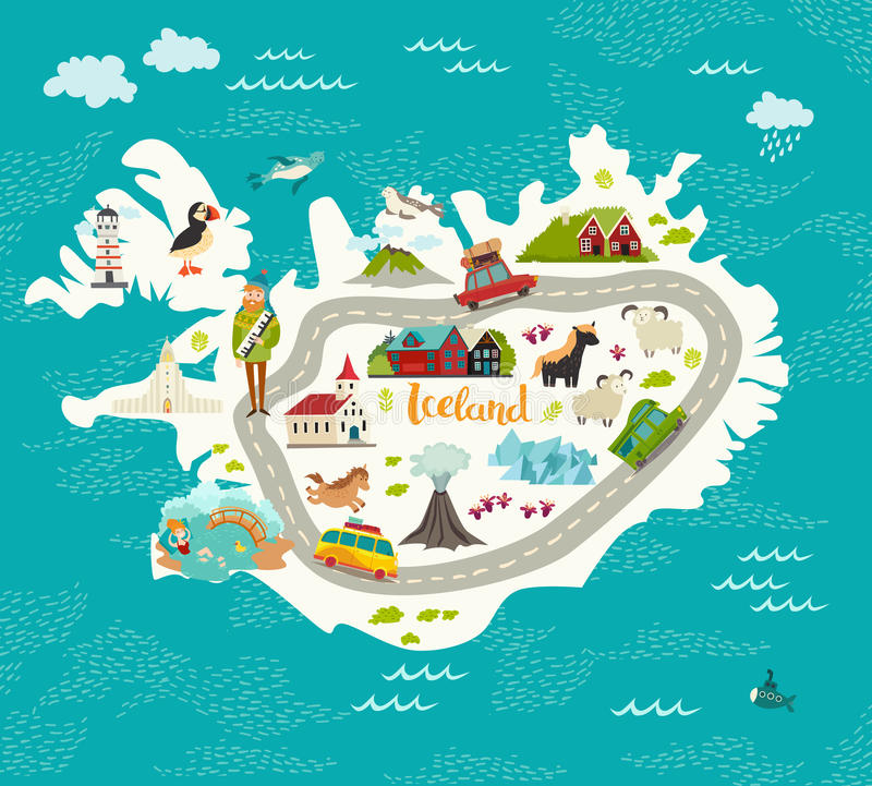 Iceland map vector illustration royalty free illustration
