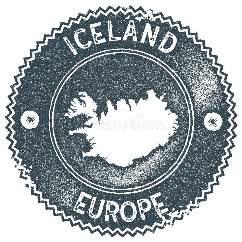 Iceland map vintage stamp. royalty free illustration