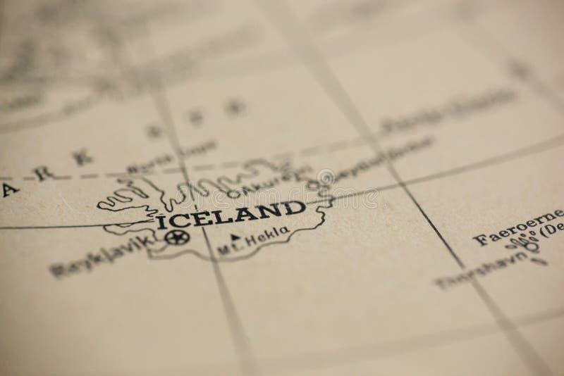 iceland mapa fotografia stock