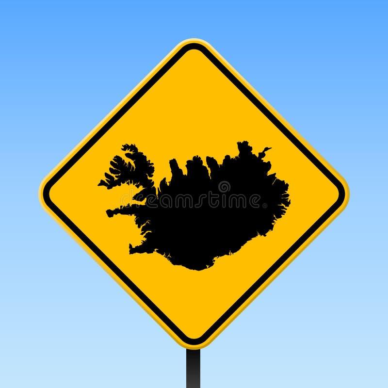 Iceland mapa na drogowym znaku ilustracji