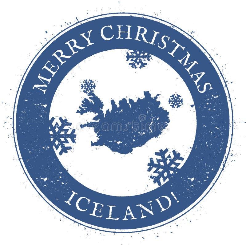 Iceland mapa Roczników Wesoło boże narodzenia Iceland royalty ilustracja