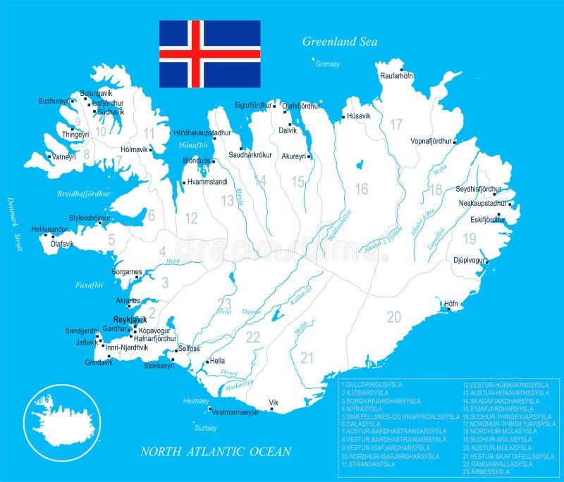 Iceland mapa - szczegółowa ilustracja ilustracji