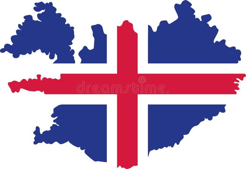 Iceland mapa z flaga royalty ilustracja