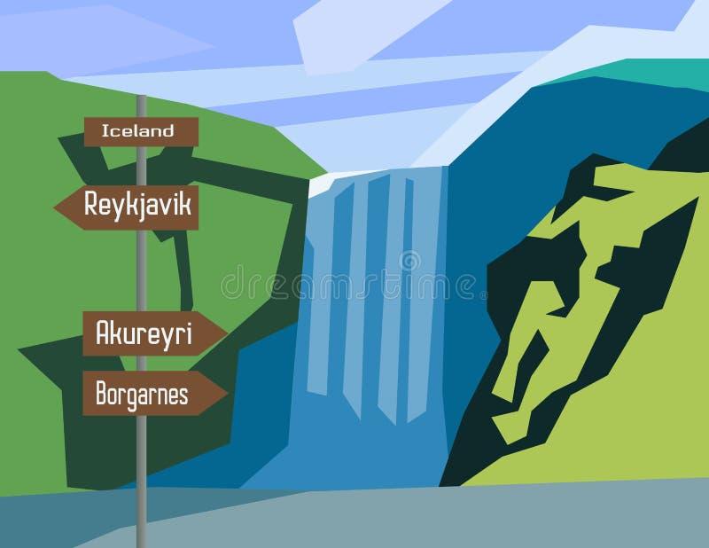 Iceland mapy kraju infographics znak ilustracja wektor