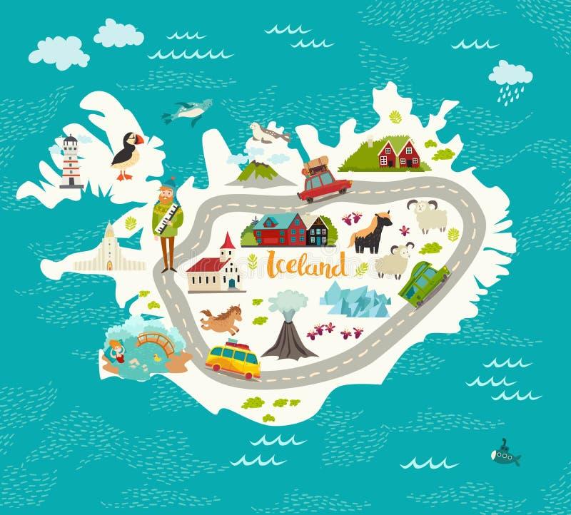 Iceland mapy wektoru ilustracja royalty ilustracja